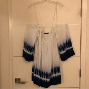 Blue Tye Dye white mini dress off the shoulders